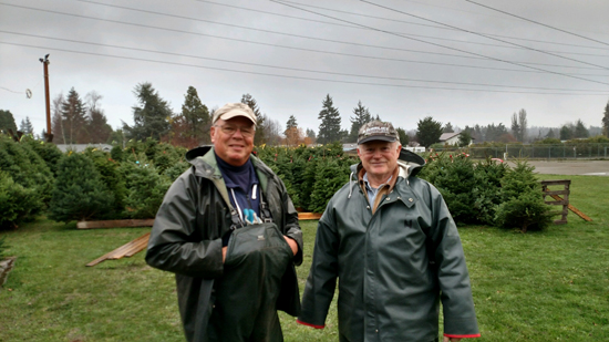 Lions Club Volunteers at the Tree Lot